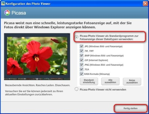 Picasa: Fotos mit dem Photo Viewer anzeigen