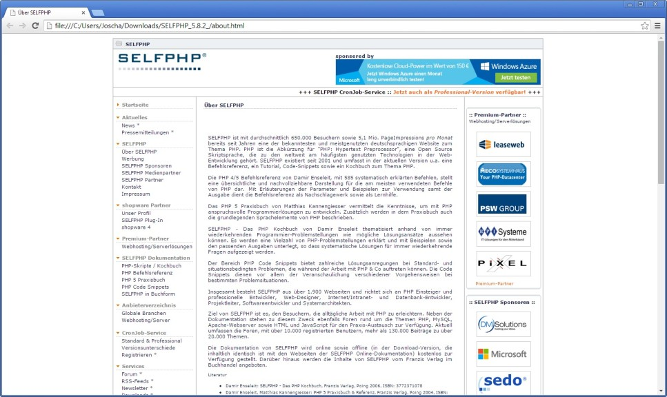 Screenshot 1 - SelfPHP