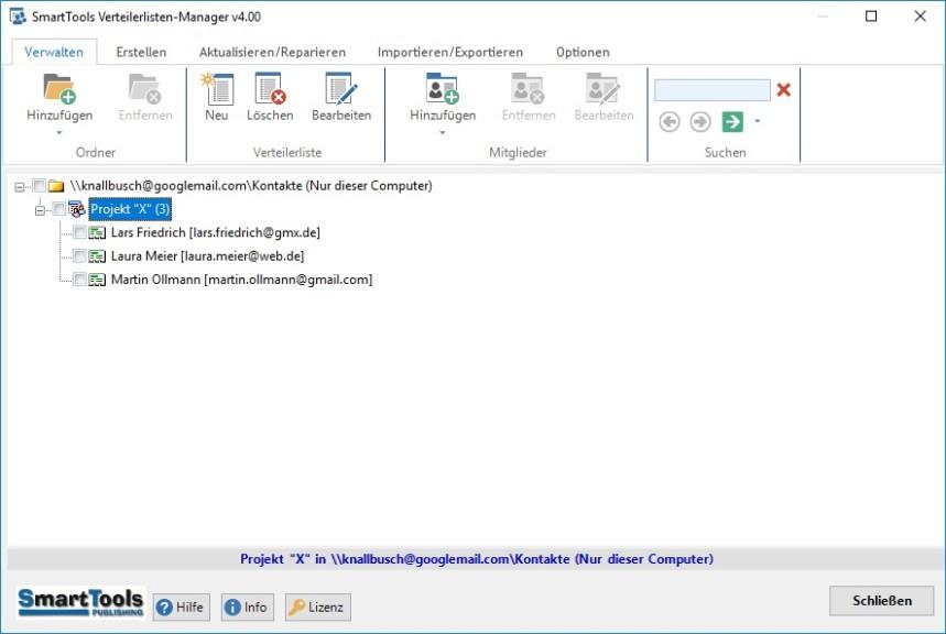 Screenshot 1 - SmartTools Verteilerlisten-Manager für Outlook