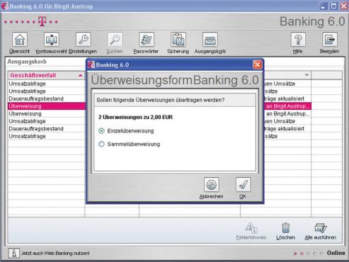 T-Online Banking Software 6.0.8 ©COMPUTER BILD