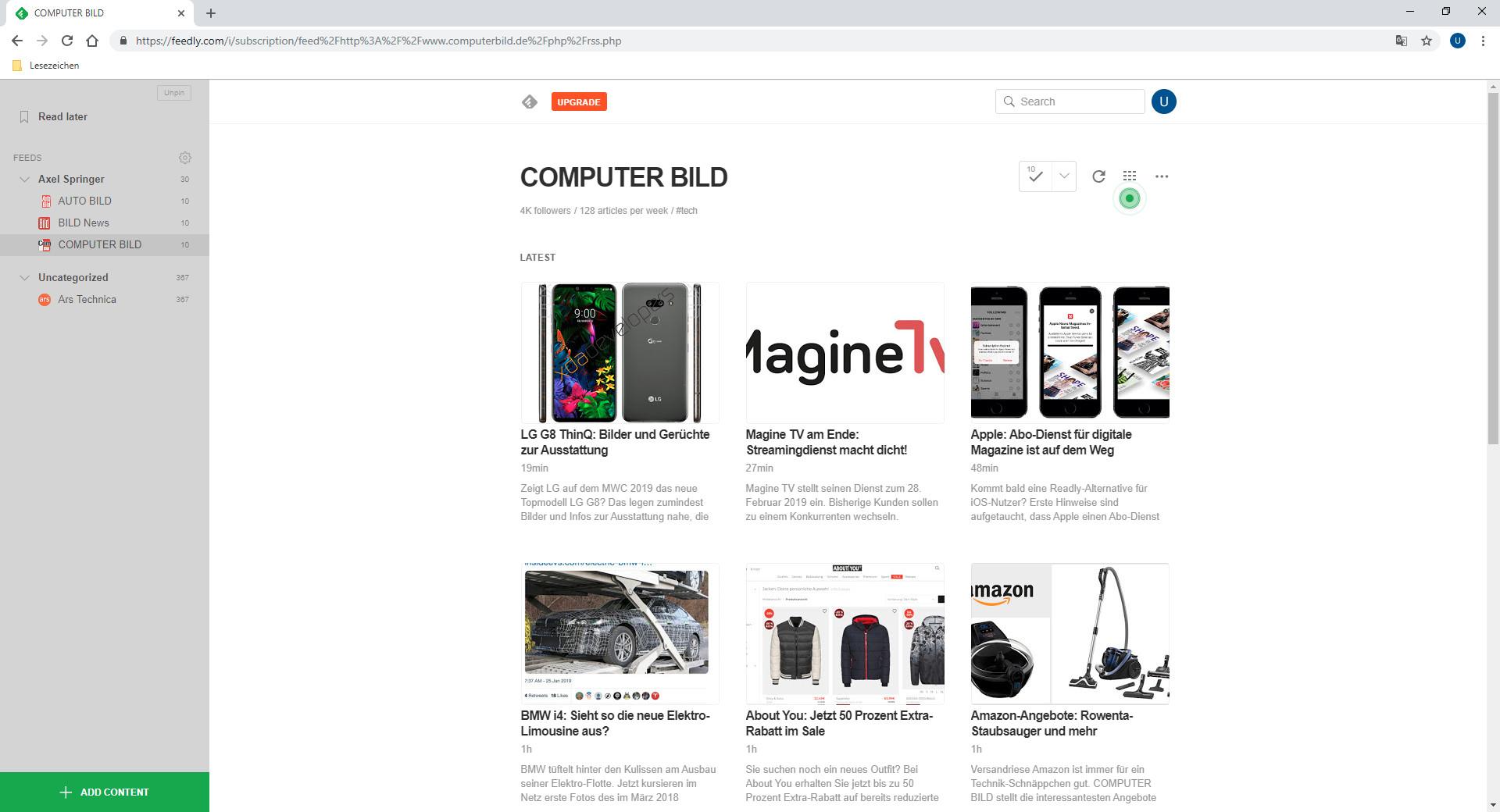 Screenshot 1 - Feedly: Reader für RSS- und Newsfeeds