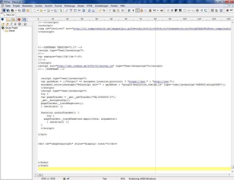 Screenshot 1 - PSPad