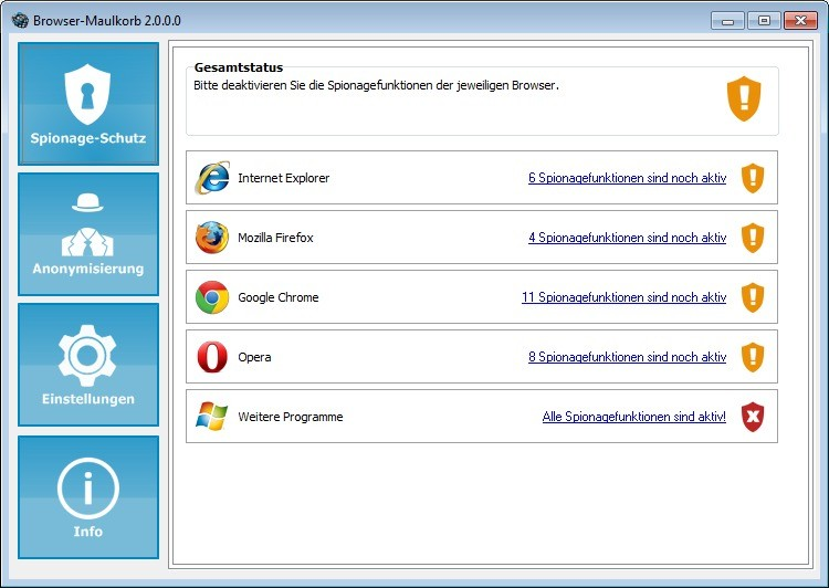Screenshot 1 - Browser-Maulkorb