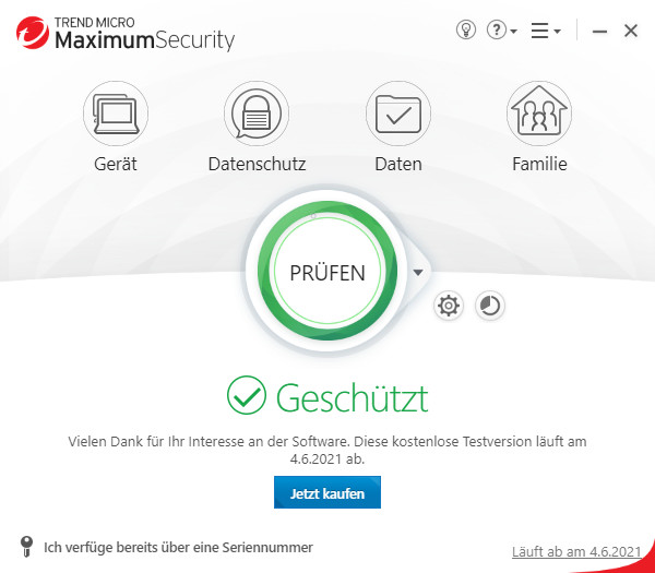 Screenshot 1 - Trend Micro Maximum Security 2021
