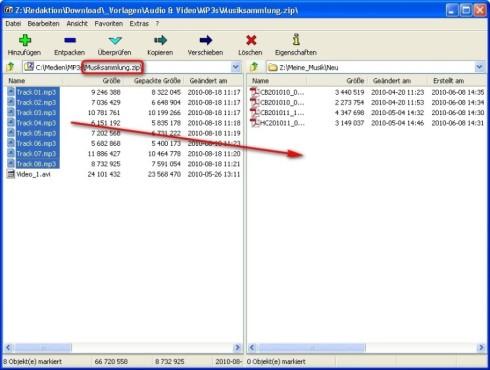 7-Zip: Archivinhalt in Ordner kopieren