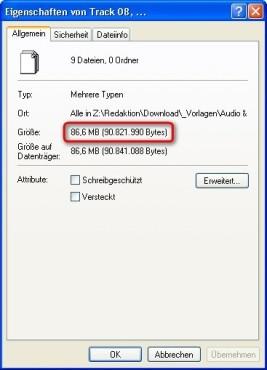 7-Zip: Dateigröße vor der Archivierung