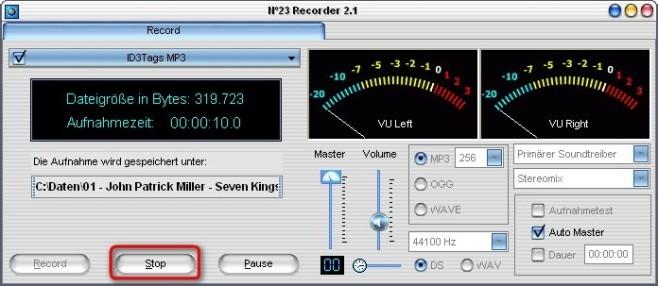 No23 Recorder: Aufnahme beenden