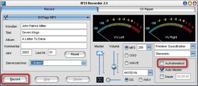 No23 Recorder: Aufnahme starten