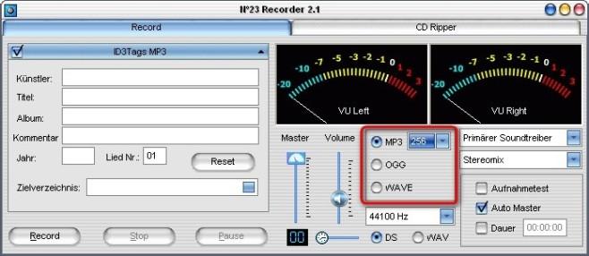 No23 Recorder: Ausgabeformat festlegen