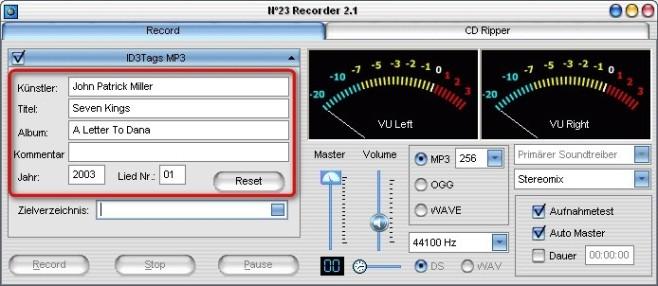 No23 Recorder: ID3-Tags zuweisen