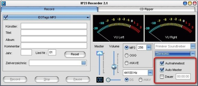 No23 Recorder: Recorder richtig einpegeln