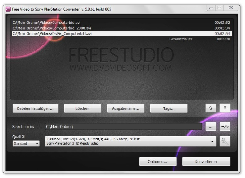 Screenshot 1 - Free Video to Sony PlayStation Converter