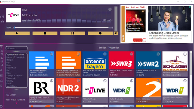 Phonostar Player: Radiomusik streamen © COMPUTER BILD