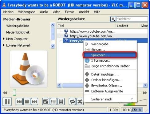 VLC Media Player: Video auf Festplatte kopieren