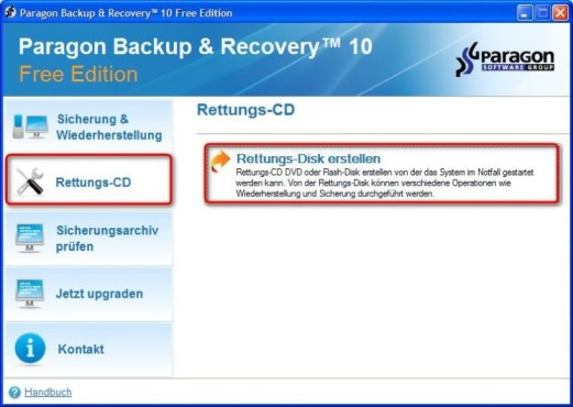 Paragon Backup & Recovery Free Edition: Sicherheits-CD anlegen