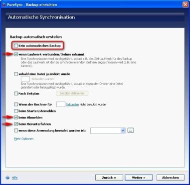 PureSync: Auslöser für ein automatisches Backup