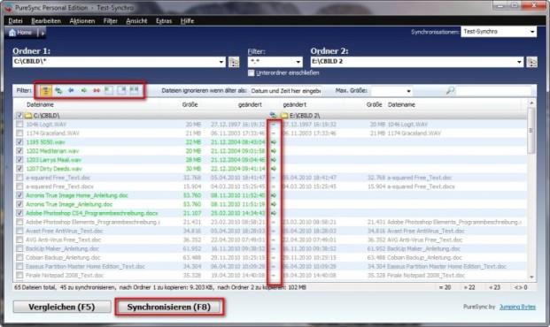 PureSync: Infos zu Filtern anzeigen