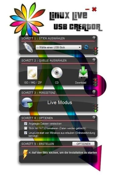 Screenshot 1 - LinuxLive USB Creator