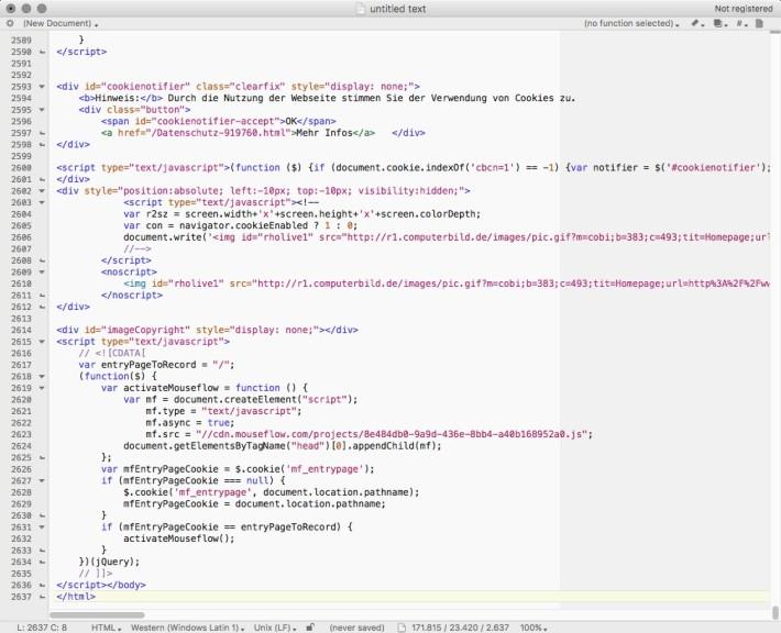 Screenshot 1 - TextWrangler (Mac)