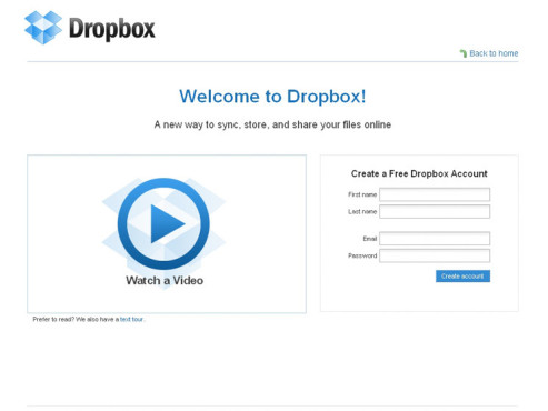 Dropbox-Account einrichten