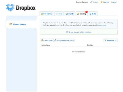 Dropbox – Einladung bestätigen