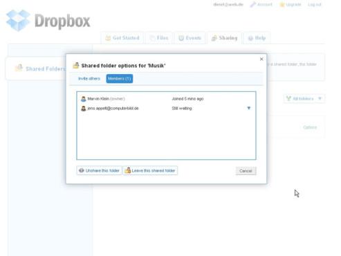 Dropbox – Ordner freigeben