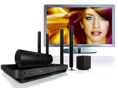 Full-HD-LCD-Fernseher 46PFL7605H/12 und 5.1-Home-Entertainment-System HTS7540 © Philips