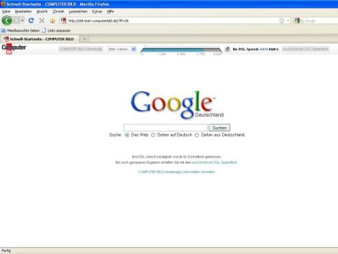 Firefox COMPUTER BILD mit Speedtest ©Screenshot