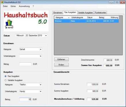Haushaltsbuch ©Screenshot