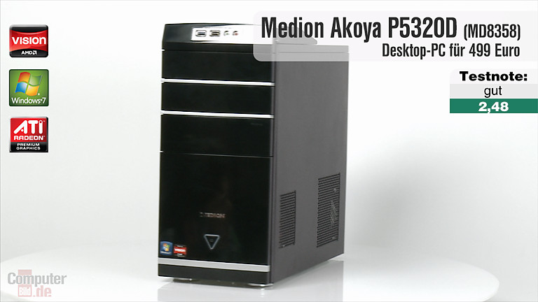 video zum test aldi pc medion akoya p5320d computer bild. Black Bedroom Furniture Sets. Home Design Ideas