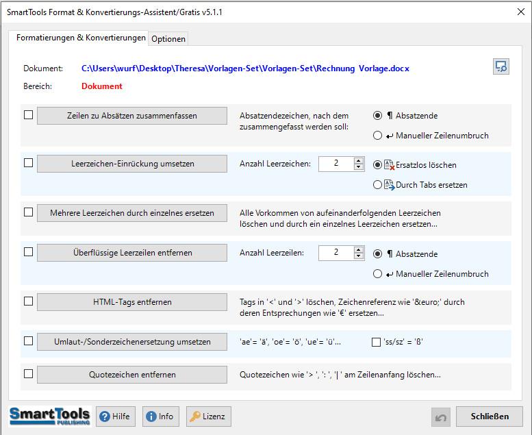 Screenshot 1 - SmartTools Format- und Konvertierungs-Assistent für Word