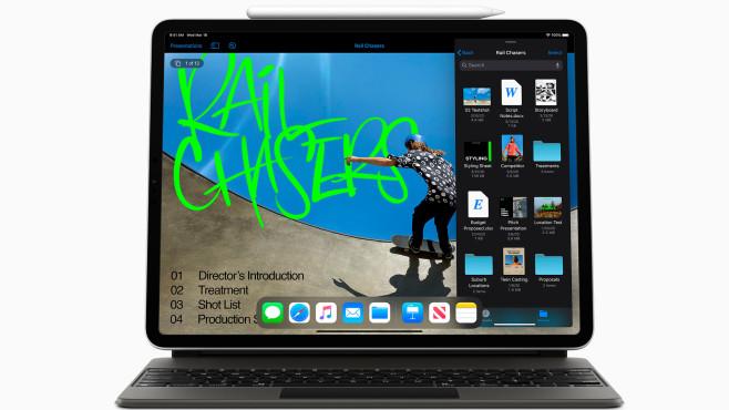 iPad Pro 11 Zoll mit Magic Keyboard vor weißem Hintergrund.©Apple