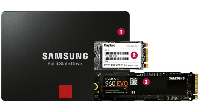 Größenvergleich: 2,5-Zoll-SSD und m.2-SSDs©COMPUTER BILD