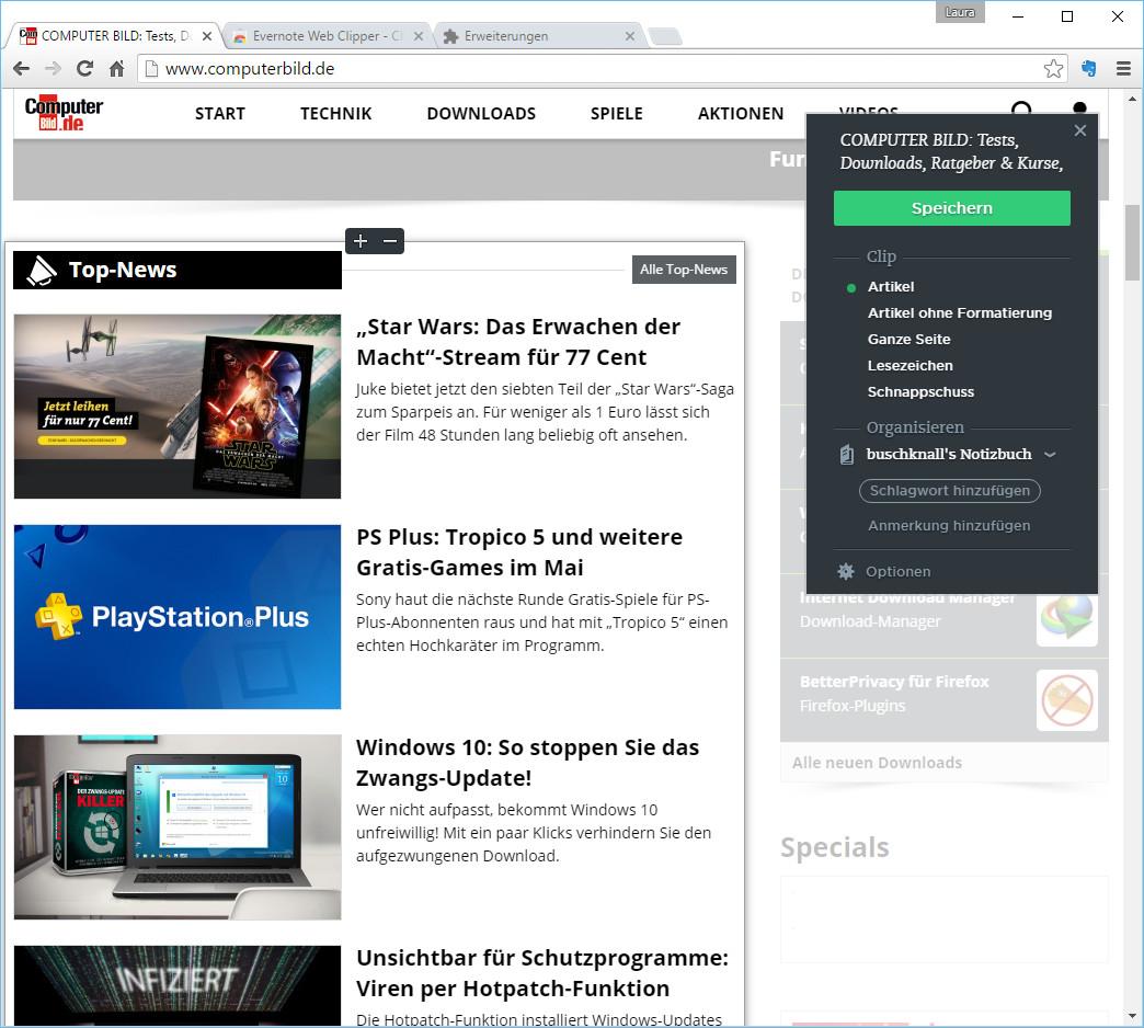 Screenshot 1 - Evernote Web Clipper für Chrome