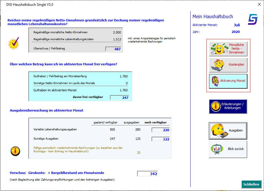 Screenshot 1 - DISI Haushaltsbuch Single