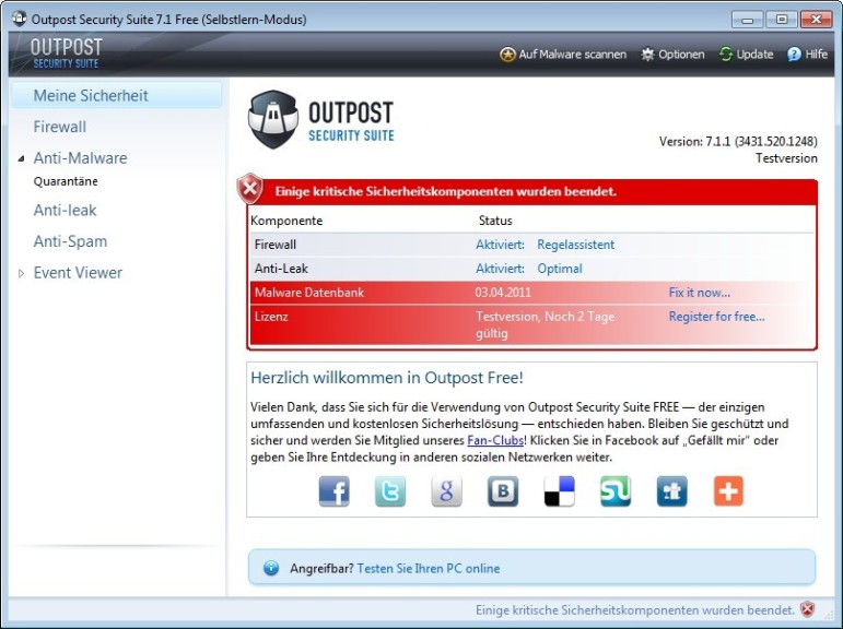 Screenshot 1 - Outpost Security Suite Free (32 Bit)
