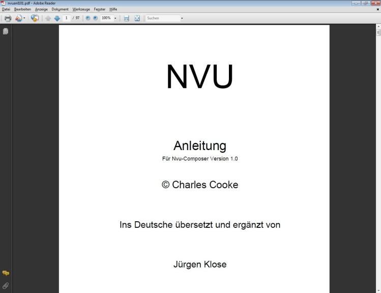 Screenshot 1 - Nvu (Handbuch)