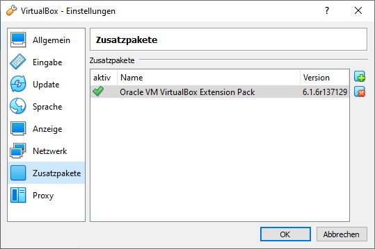 Screenshot 1 - VirtualBox Extension Pack