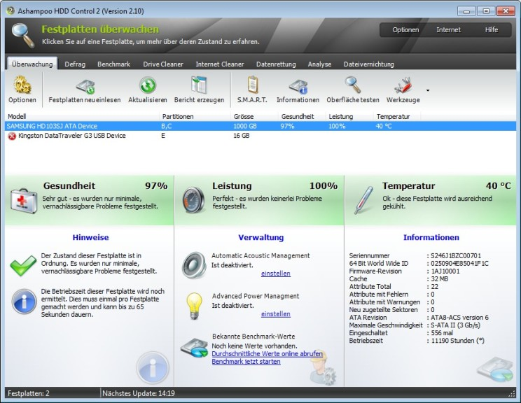 Screenshot 1 - Ashampoo HDD Control 2 – Kostenlose Vollversion