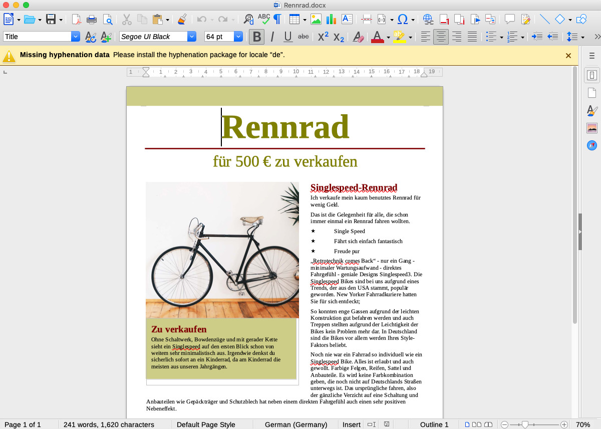 Screenshot 1 - LibreOffice (Mac)