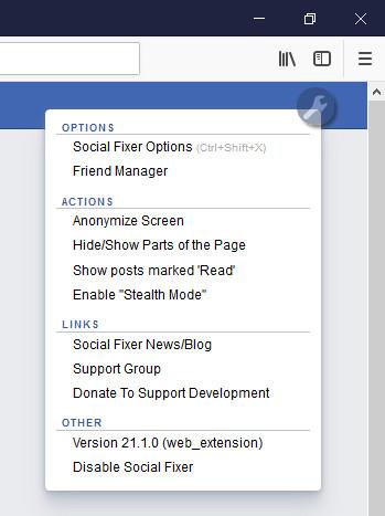 Screenshot 1 - Social Fixer für Firefox