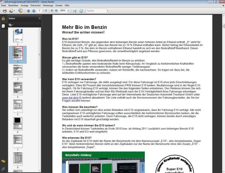 Screenshot 1 - DAT-Liste zur E10-Verträglichkeit