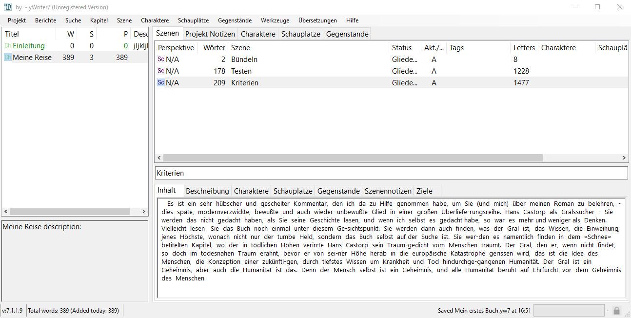 Screenshot 1 - yWriter