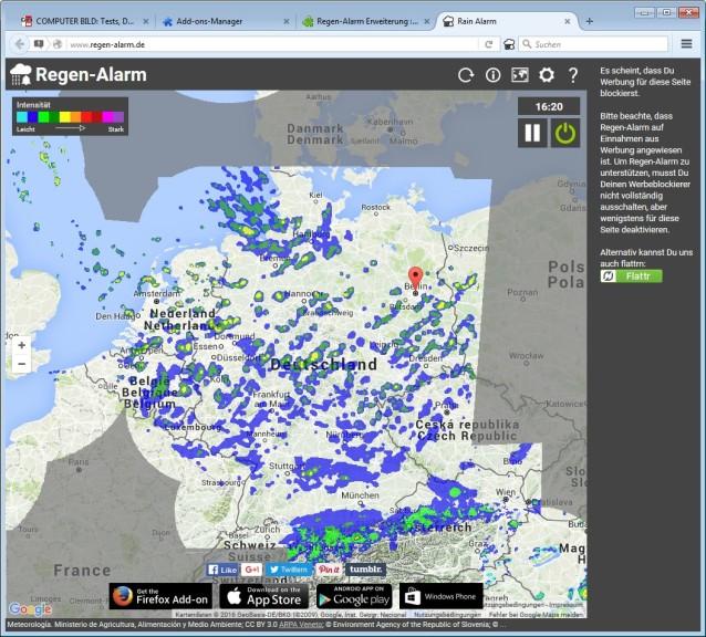 Screenshot 1 - Regen-Alarm für Firefox