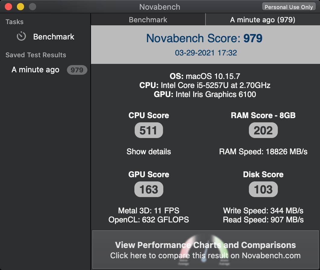 Screenshot 1 - NovaBench (Mac)