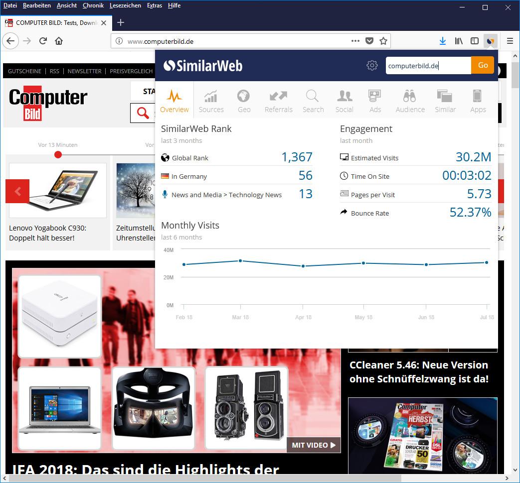 Screenshot 1 - SimilarWeb für Firefox