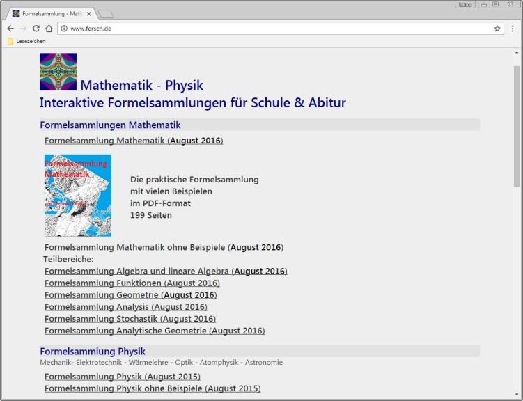 Screenshot 1 - Online-Formelsammlung