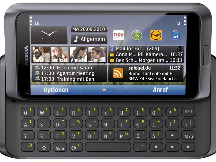 symbian smartphone mit tastatur im test nokia e7 00. Black Bedroom Furniture Sets. Home Design Ideas