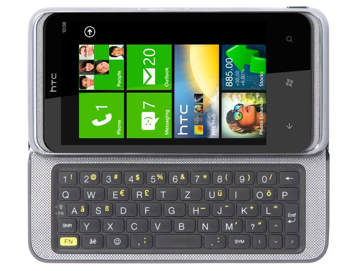 smartphone mit tastatur im test htc 7 pro mit windows. Black Bedroom Furniture Sets. Home Design Ideas