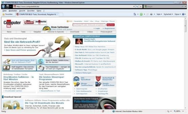 Internet Explorer 8 (Windows Vista) ©COMPUTER BILD